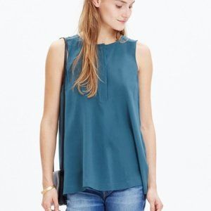 NEW Madewell Silk Composition Tank Top Teal XS